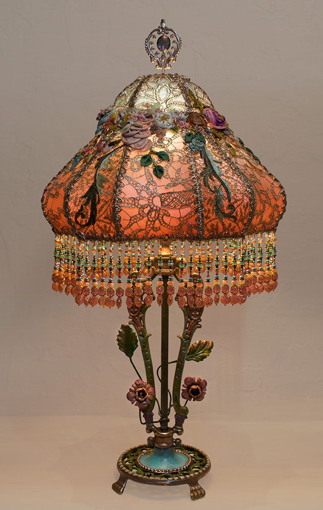 Victorian Lampshade with Antique French Embroidery