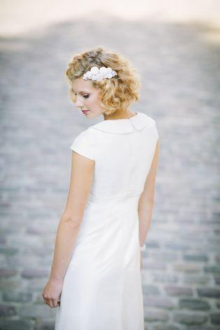 Brautkleid 60er mit kurzem Ärmel