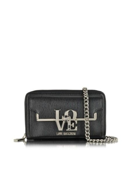 LOVE MOSCHINO BLACK ECO LEATHER POCHETTE W/CHAIN STRAP