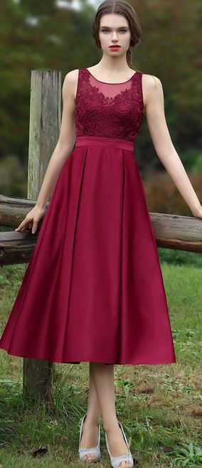 Burgundy Embroidery Dress