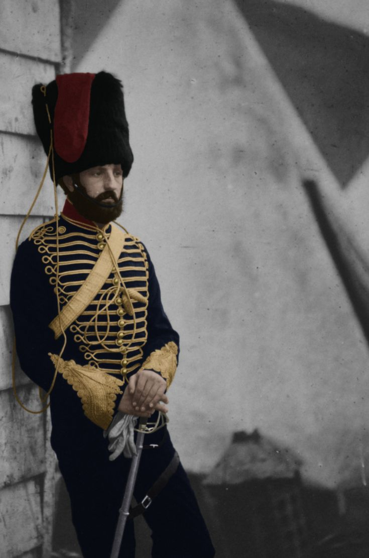 Colorized photo of Captain Thomas Longworth Dames in 1855 during the Crimean War