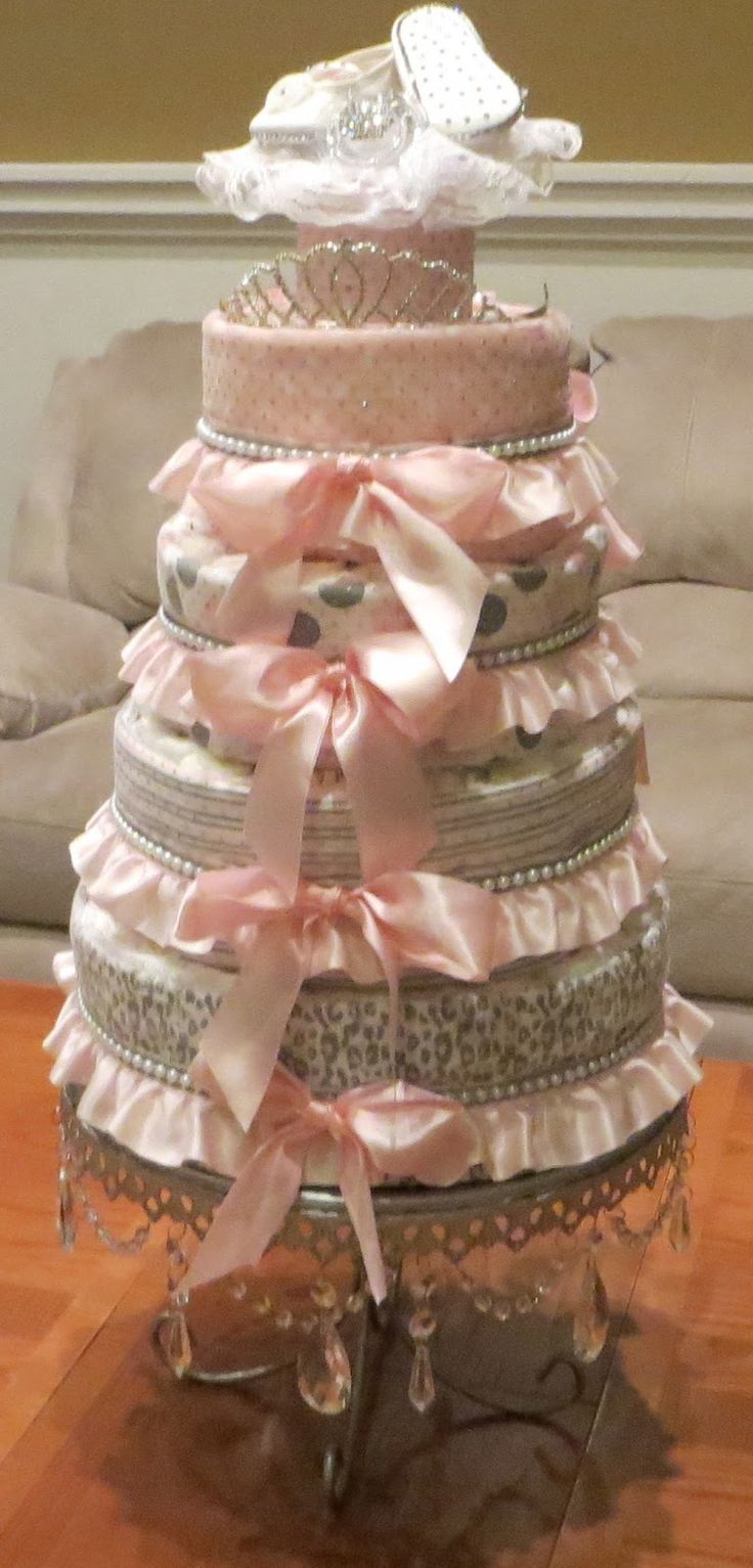 Glamorous Shabby chic diaper cake pink gray Princess crown tiara baby girl