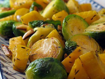 Make a Pot O' Gold for St. Patrick's Day! Golden Beets with Brussels Sprouts, Almonds, and Thyme