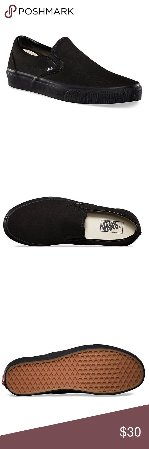 All Black Slip-On Vans Vans The Canvas Classic Slip-on has a low profile, slip-on canvas upper with elastic side accents, Vans flag label and Vans original Waffle Outsole. In nearly perfect condition. Super comfortable and casual. Vans Shoes Sneakers