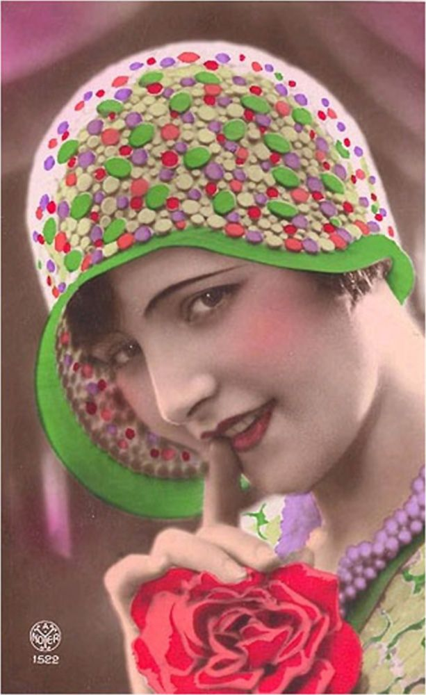 1920's flapper girl tinted postcard
