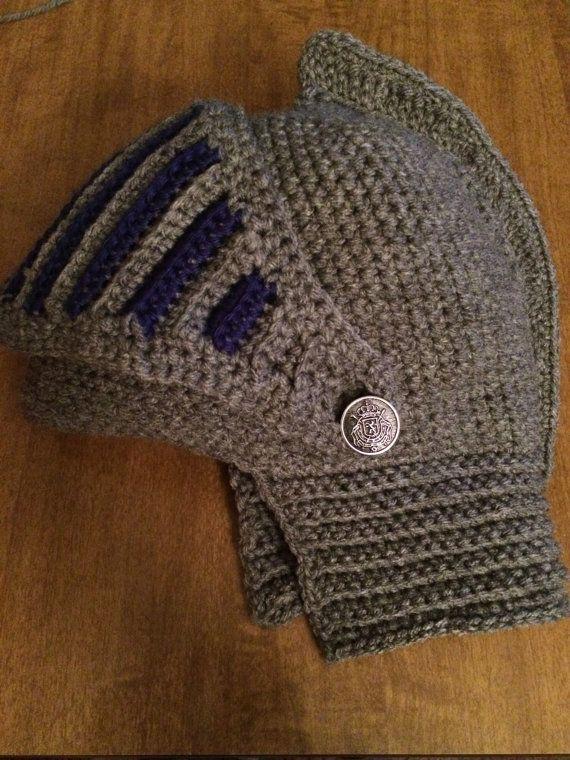 Knight Hat Knitting Pattern : Knights Helmet for Adults crochet pattern Helmets, Crochet and Patterns
