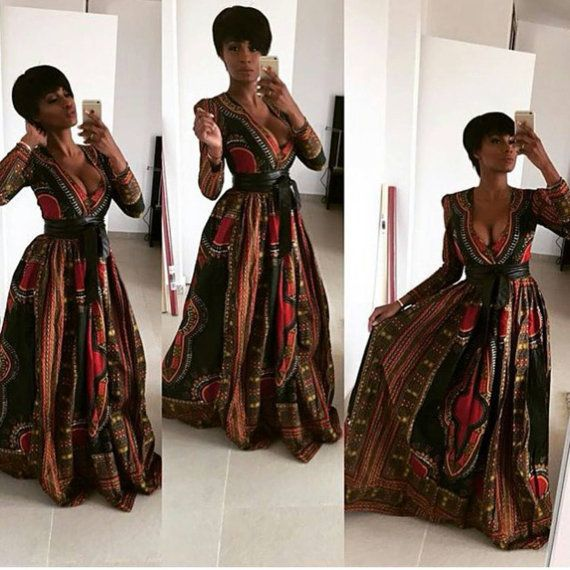 African/ethnic /dashiki long sleeves women gown with two invisible pockets