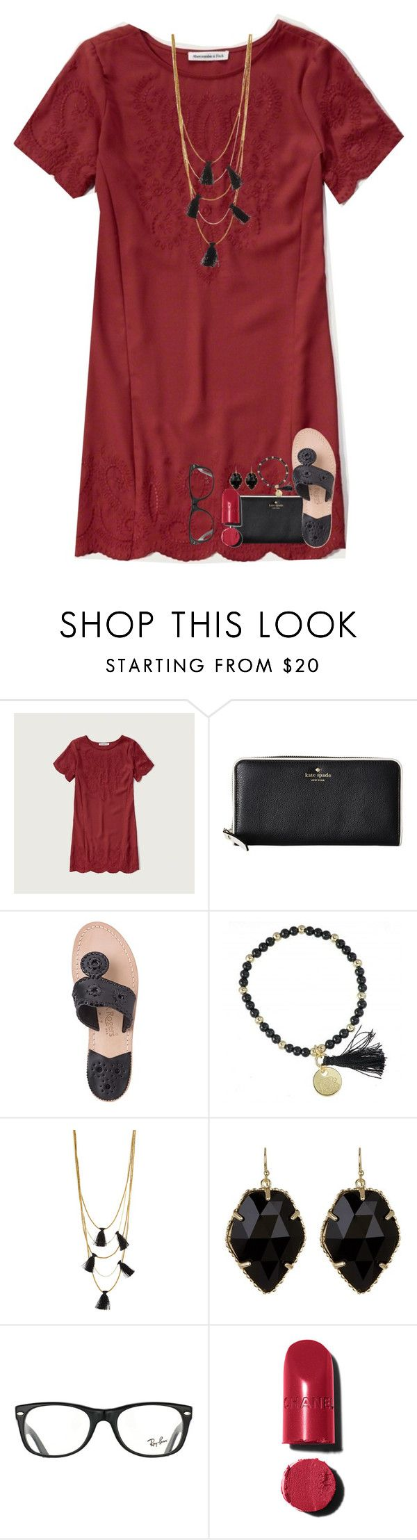 """""""day two of martha's contest!"""" by lindsaygreys ❤ liked on Polyvore featuring Abercrombie & Fitch, Kate Spade, Jack Rogers, NAKAMOL, Kendra Scott, Ray-Ban, Chanel and oneyearformartha"""