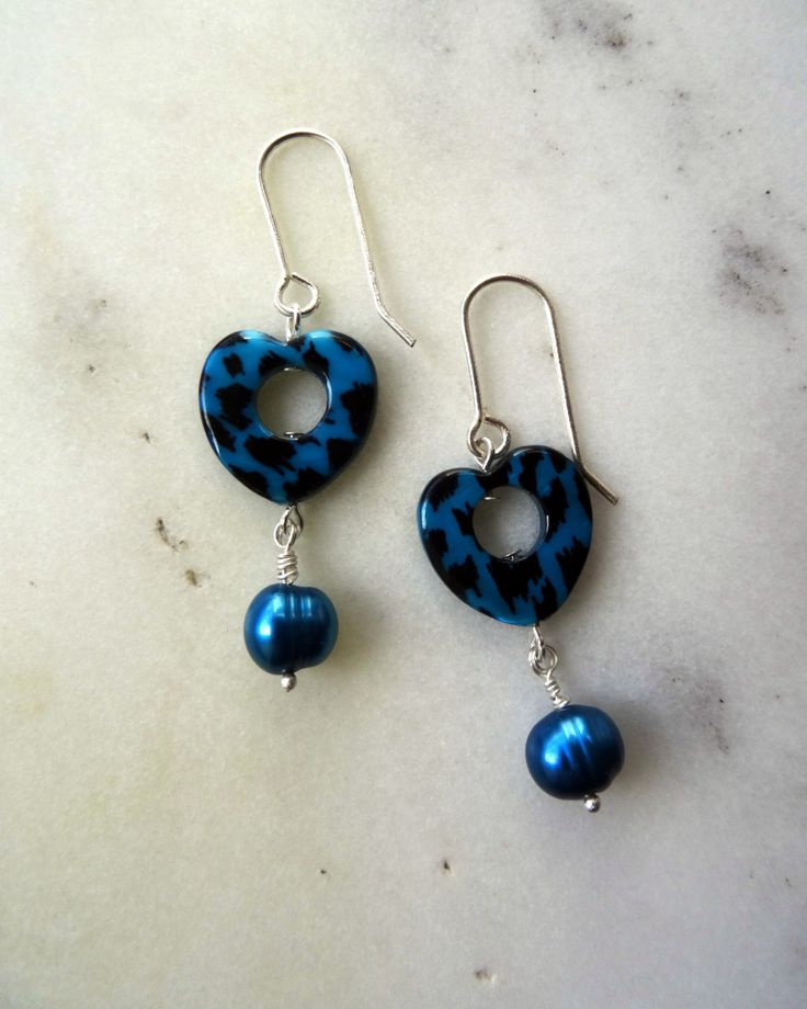 Teal pearl earrings, 30th anniversary, June birthstone, animal print jewelry, long pearl earrings, long blue earrings, heart drop earrings - pinned by pin4etsy.com