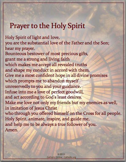 Prayers - Prayer to the Holy Spirit by Catholic Shopping .com | FREE Digital Download PDF
