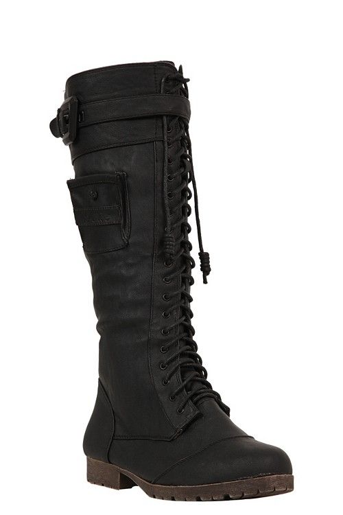 "Internet exclusive! Combat wardrobe boredom with these hot lace-up boots. The buckle strap across the top and the pouch pocket are edgy details, and the laces in front keep this boot snug and fitted. Side zip closure and fuzzy plaid lining. Calf fit by size: 6 fits up to 13"", 7 - 15"", 8 - 15"", 9 - 17"", 10 - 17"", 11 - 17""Boots run one size small; please size up."