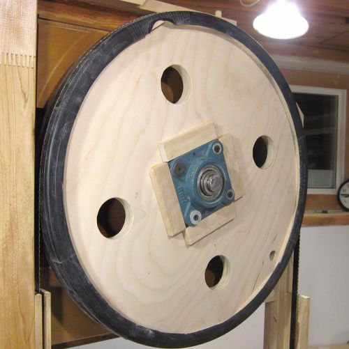 Bandsaw Wheels by Matthias Wandel -- Homemade bandsaw wheels constructed from plywood, bearings, lumber, and bicycle inner tubes. http://www.homemadetools.net/homemade-bandsaw-wheels