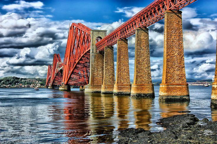 Firth of Forth rail bridge in Queensferry Scotland.