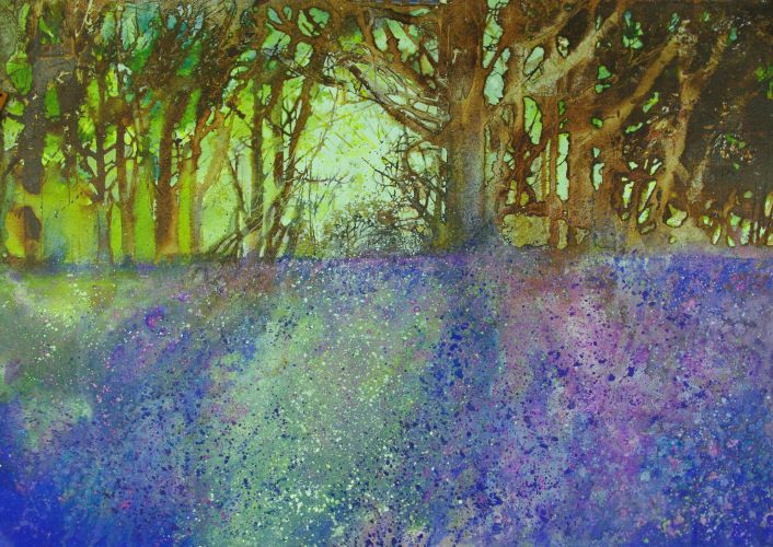 'Bluebell Wood' by Ann Blockley. On Saunders Waterford paper.