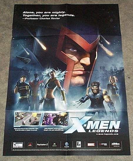 X-Men Legends 27 x 19 Marvel video game promo poster: Wolverine/Rogue/Magneto