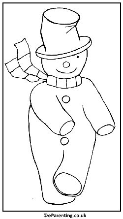 Dancing Snowman colouring picture. Christmas Colouring Pages - Free printable Coloring pictures