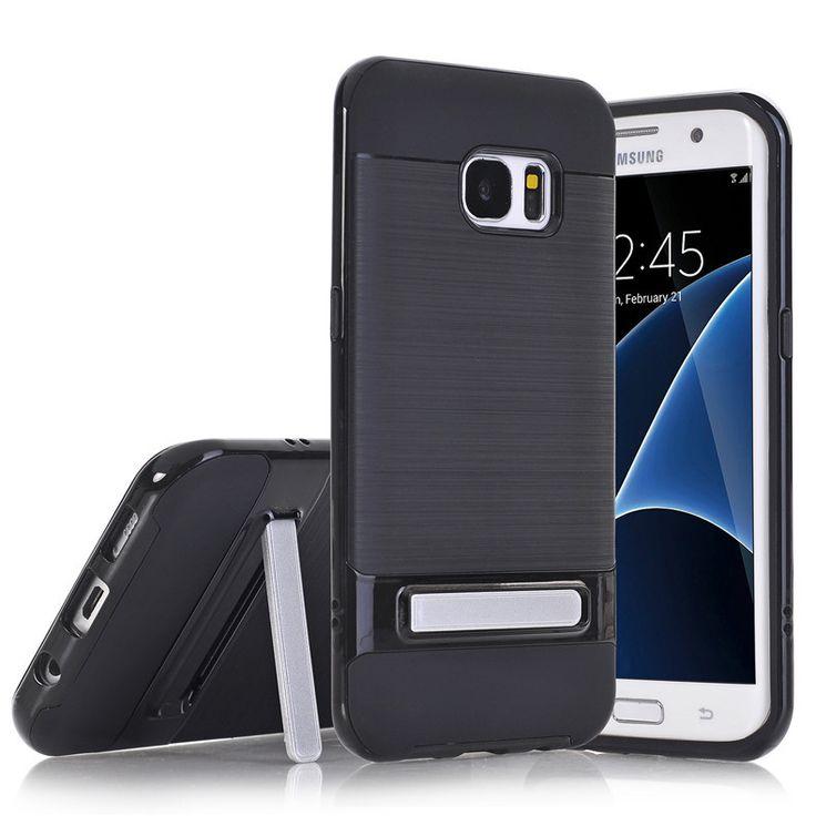 TPU PC Silicon Hybrid Stand Holder Stripe Kickstand Back Cover Armor Case for Samsung Galaxy S7 Edge