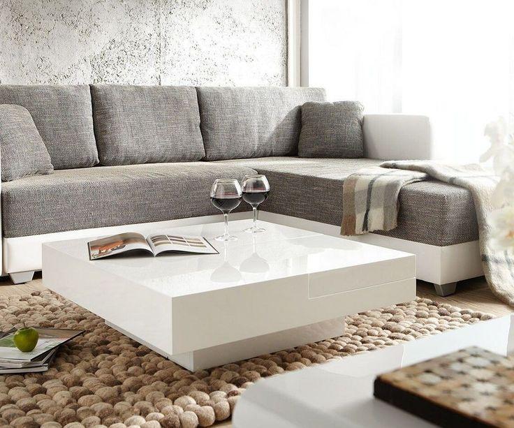couchtisch magica 90x90 hochglanz weiss mit tablett kati. Black Bedroom Furniture Sets. Home Design Ideas