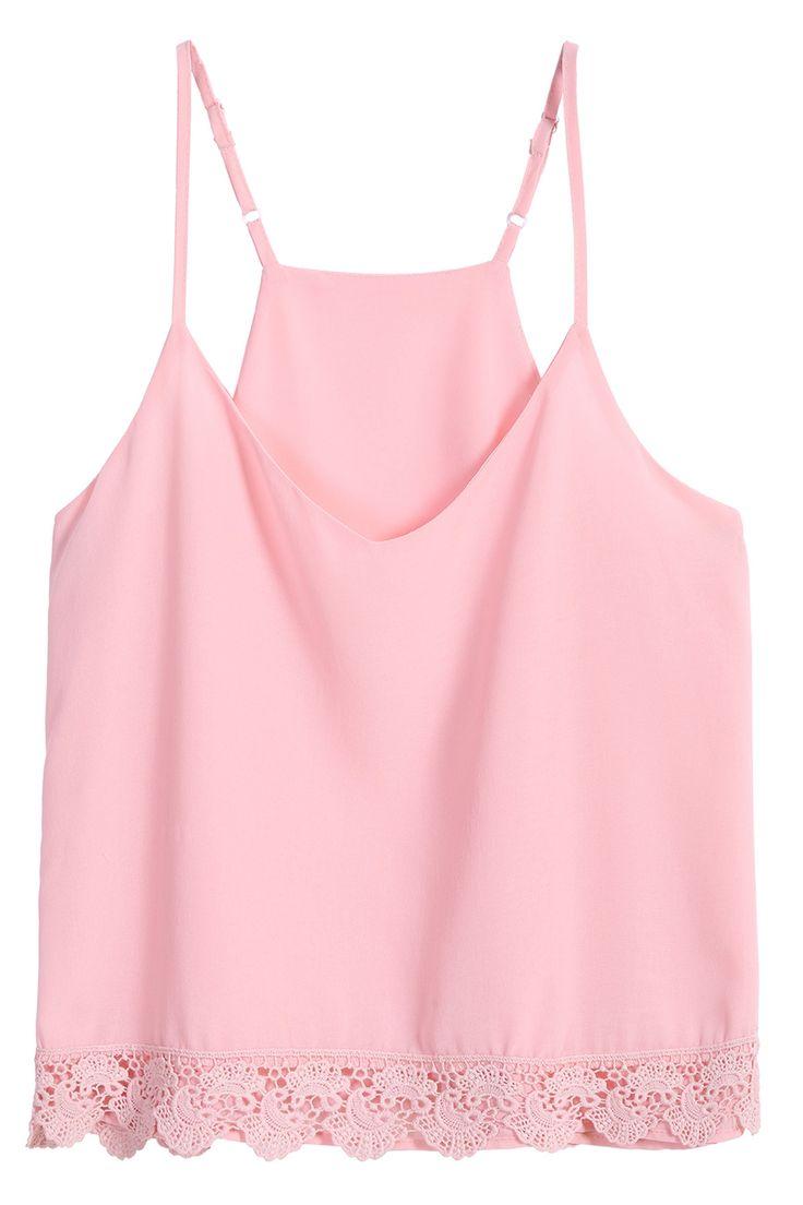 Spaghetti Strap Lace Chiffon Pink Vest