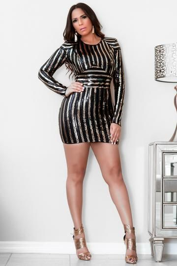 2698cfdb5 Wendy Black Gold Sequins Long Sleeves Bodycon Mini Dress Got an exciting  invite  Wow  em in the Black Gold Sequins Long Sleeves Bodycon Mini Dress!