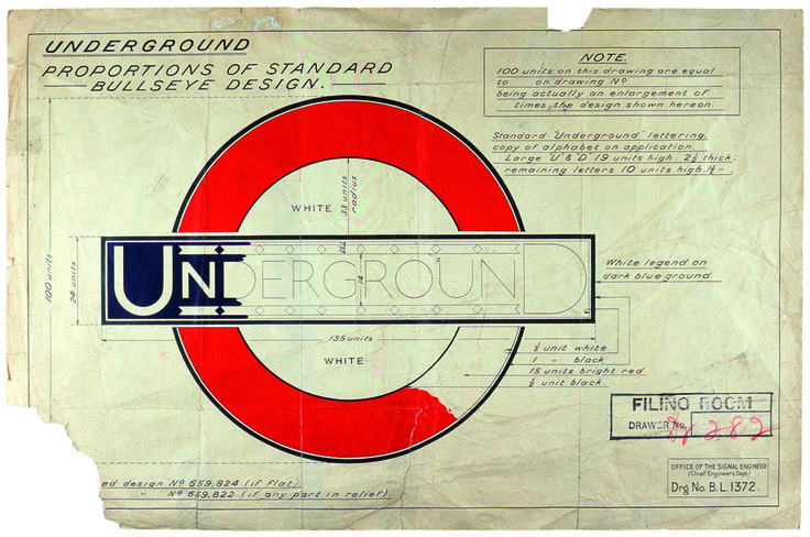 """Johnston's Roundel Sketch from """"A History of London's Iconic Transport Logo"""" by Kristin Hohenadel posted to www.slate.com"""