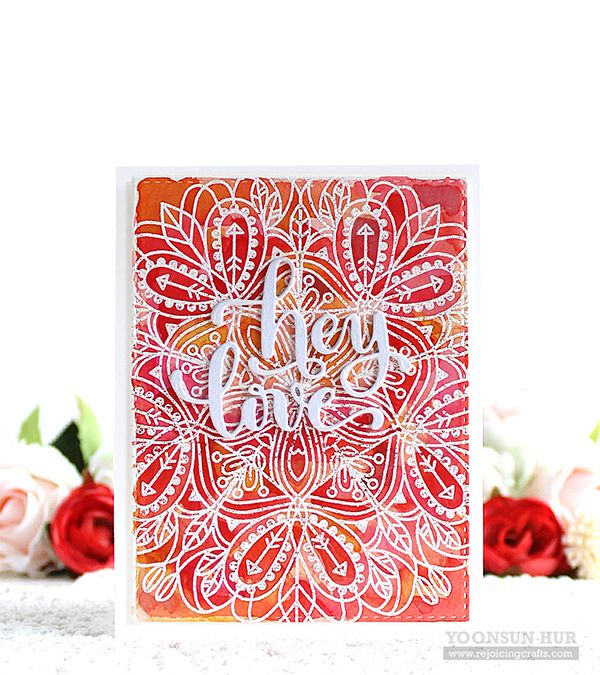 "Such a pretty background stamp! Check out the ""Hey Love"" blog hop on Yoonsun Hur's blog!"
