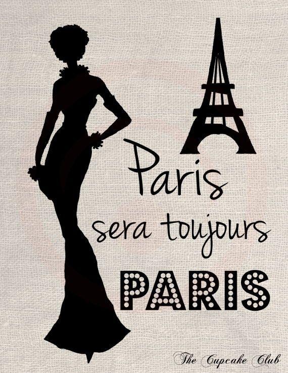 Clip Art Design Transfer Digital File Vintage Download DIY Scrapbook Shabby Chic Drawing Silhouette Fashion France