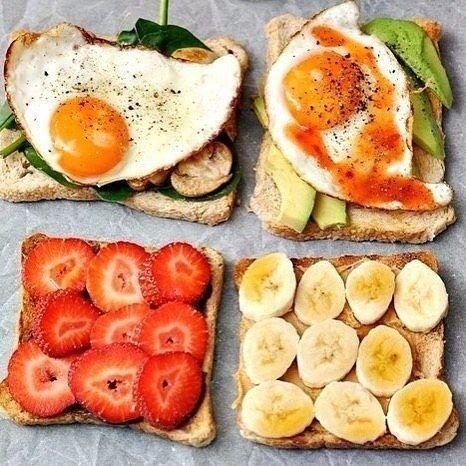 Солнышко радует все больше Пара легких завтраков 3 варианта тостов на завтрак чтобы начать свой день отлично!  1 вариант: потушенные грибы в сухих травах  свежие листья шпината  глазунья 2 вариант: нарезанный авокадо  глазунья  сладкий соус чили 3 вариант: арахисовое масло  банан  кленовый сироп. #еда#едапп#едабогов#едаялюблютебя#вкусно#глазунья#утро#клубника#бананы#бутерброд#рецептпп#рецепт#видеорецепт#пп#завтрак#food#foodvideo#cat#cake#cakes#instadaily#folowme by shef_love