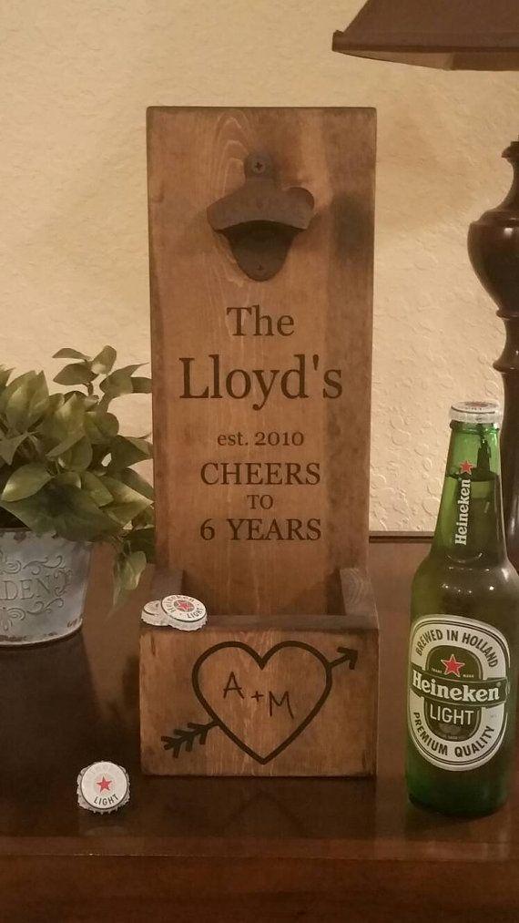 Personalized Wall Mount Bottle Opener, Cast Iron Anniversary Gift, Wood Bottle Opener
