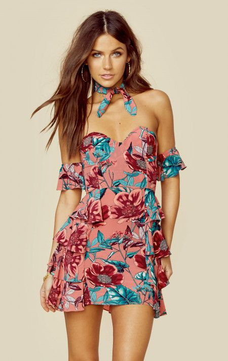 FOR HIRE: FOR LOVE AND LEMONS FLAMENCO STRAPLESS OFF THE SHOULDER MINI WITH NECK TIE