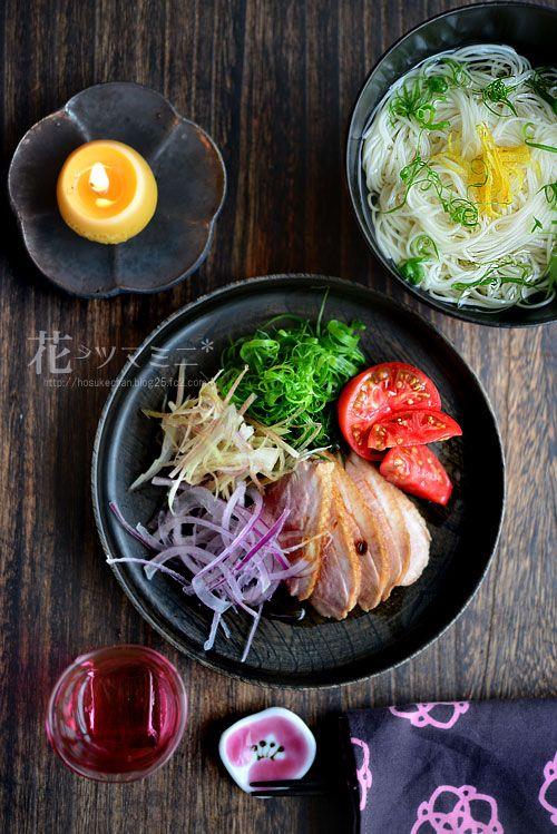 「醤鴨と冷やし出汁素麺」 - 花ヲツマミニ