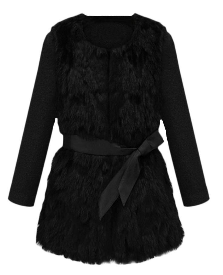 Black Belted Fur-pannels Coat | BlackFive