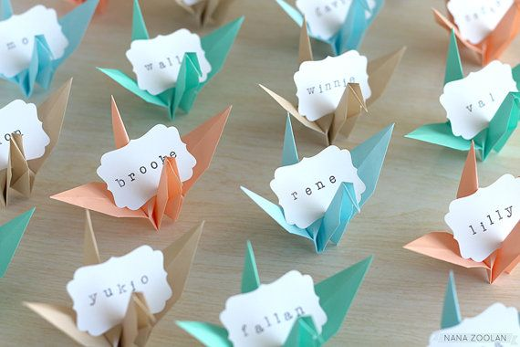 Origami Paper Crane Name Place Cards Favors in sky blue, turquoise, sand, coral peach by NANAZOOLAN #beach #wedding #tropical