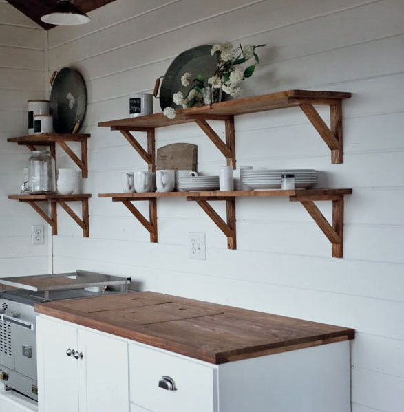 open kitchen cabinet shelving rustic cottage farmhouse style for our tiny house - Kitchen Cabinet Shelving