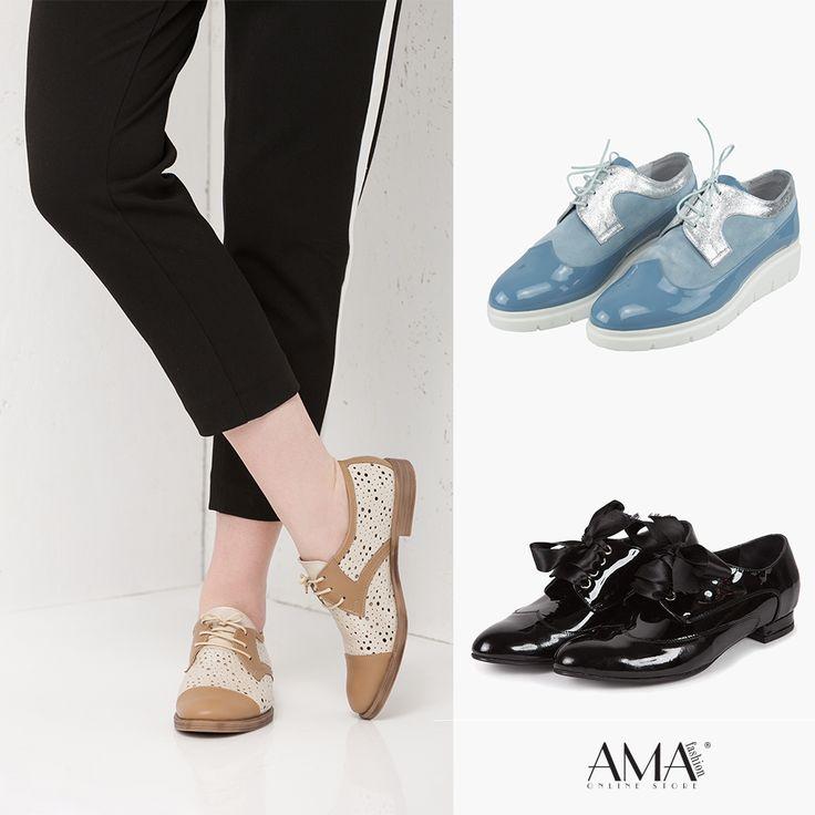 Pantofi din piele naturala de tip Oxford - modele clasice, negre sau moderne, cu talpa inalta si in culori tari