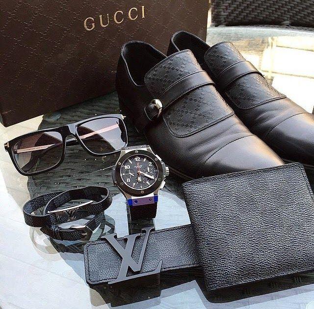 Acessorios para homens - kit com sapato, relógio, cinto, óculos e carteira para homens