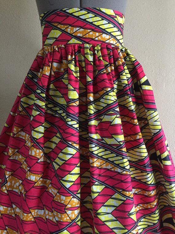 Wax africain belle imprimer jupe taille haute coupe par WithFlare
