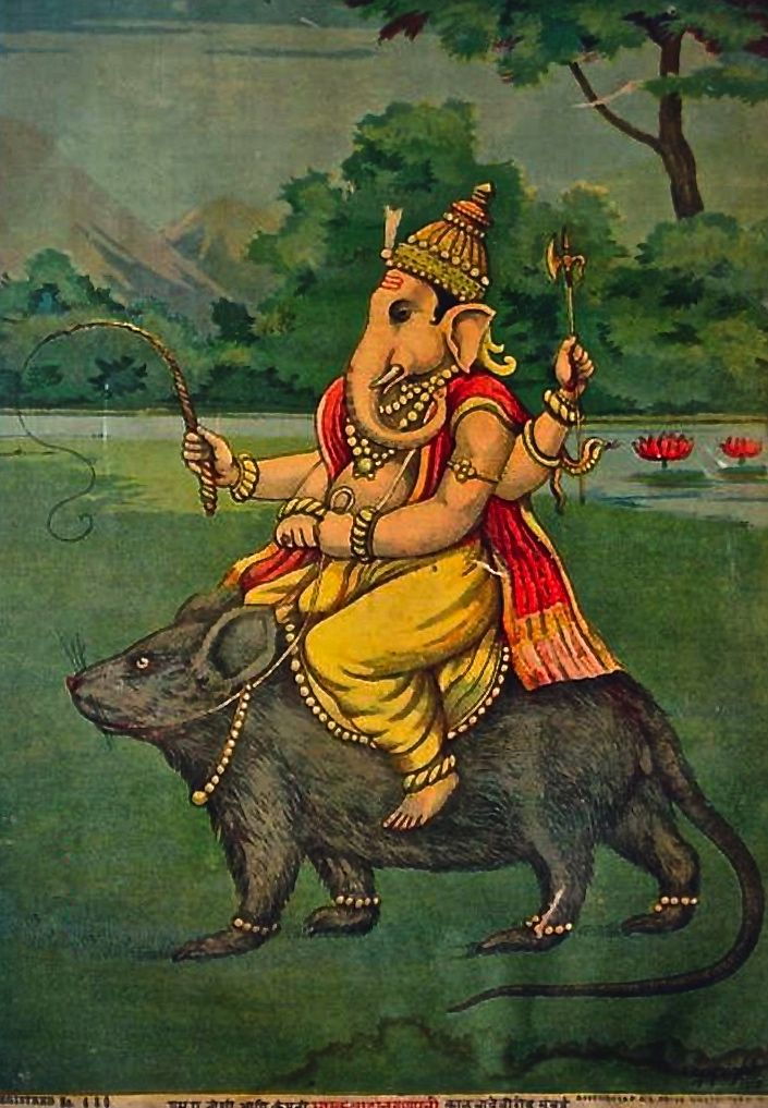 Ganesh on his Vahana, a mouse or rat | Raja Ravi Varma | 1910