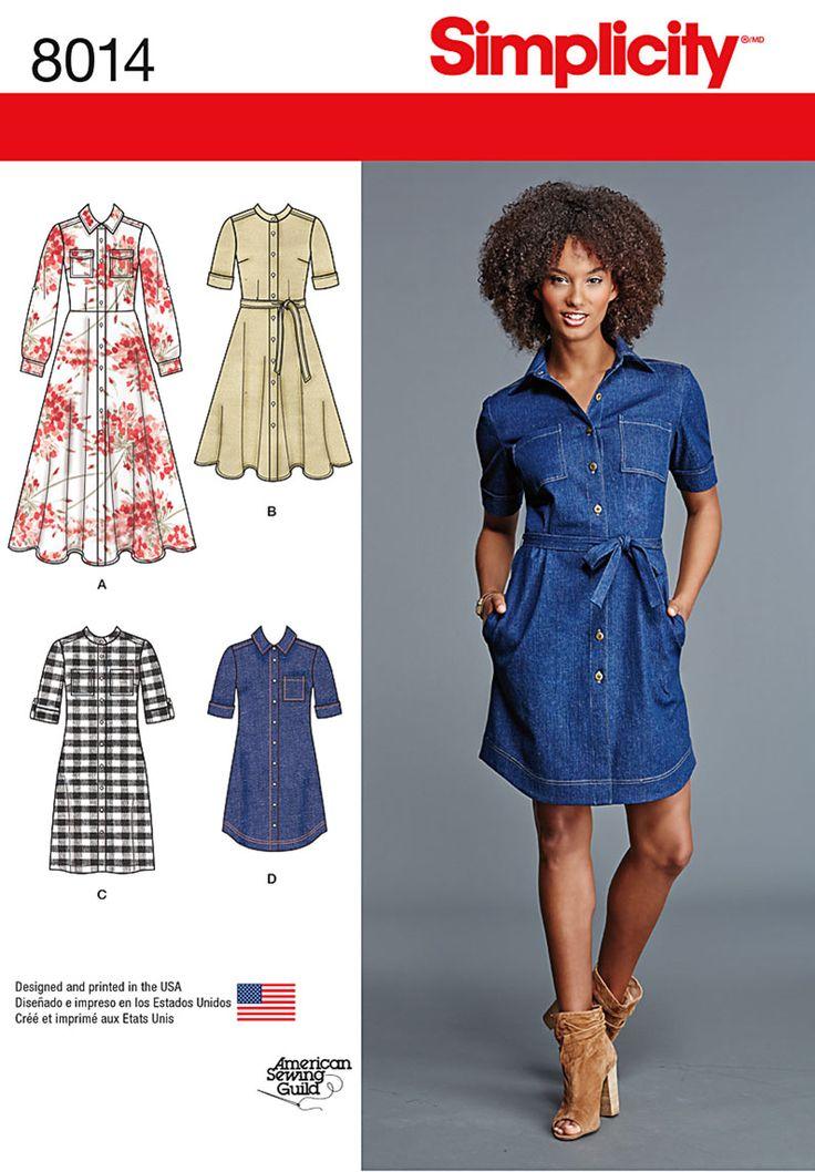 Simplicity 8014 Misses Shirt Dress 4 styles size 6-14 2015