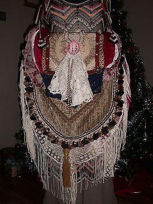 Handmade Vintage Fabric Lace Fringe Hippie Boho Gypsy Victorian Handbag Purse
