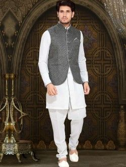 Fine Off White Remi Linen Fabric Patch Work Kurta Pajama