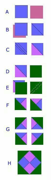 Técnica Patch quadrado e triângulo de cores diferentes