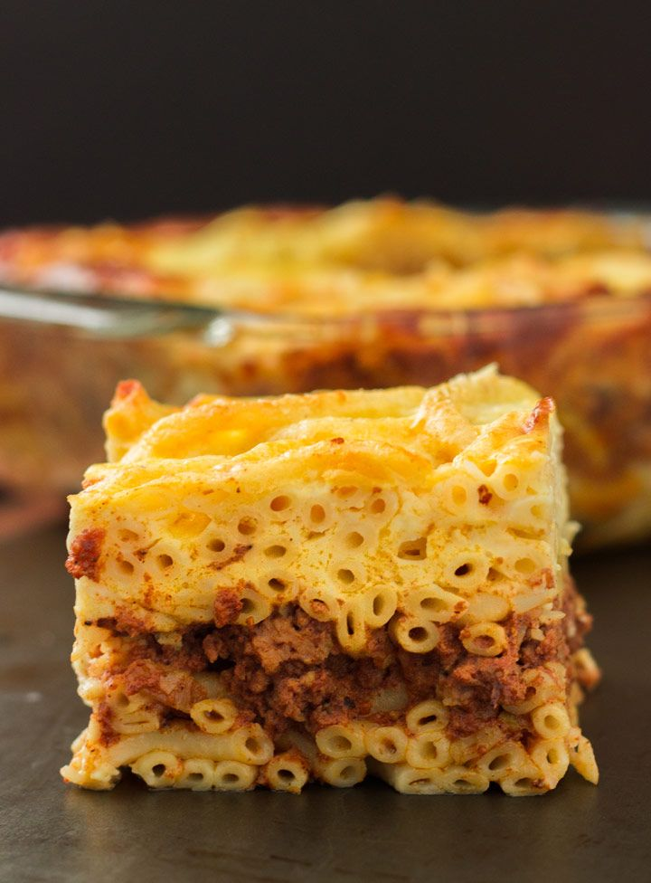 Pastitsio: Greek-Style Lasagna | www.noshon.it | #greek #pasta ** 8/23/14 - made with GF rotini, grated parm, Cabot cheese, sorghum flour, and HC whole milk (for the bechamel) - next time I'll try with coconut milk & cream. It was FABULOUS! **