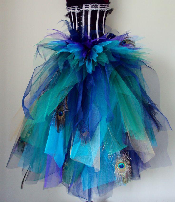 Frans Navy Blue Purple pauw veren burleske Tutu drukte riem