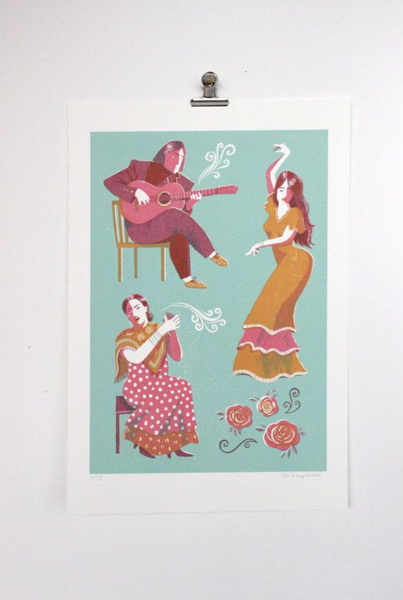 Flamenco // Original hand pulled screenprint by essillustration