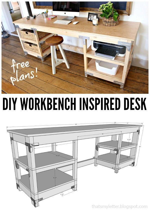 Check out this idea for a #DIY workbench inspired desk. Looks easy enough! #HomeDecorIdeas @istandarddesign
