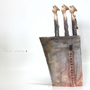 Trójka. Wersja morska, ceramika artystyczna. Rzeźba wykonana ręcznie. Clay/ Art Ceramic Arek Szwed