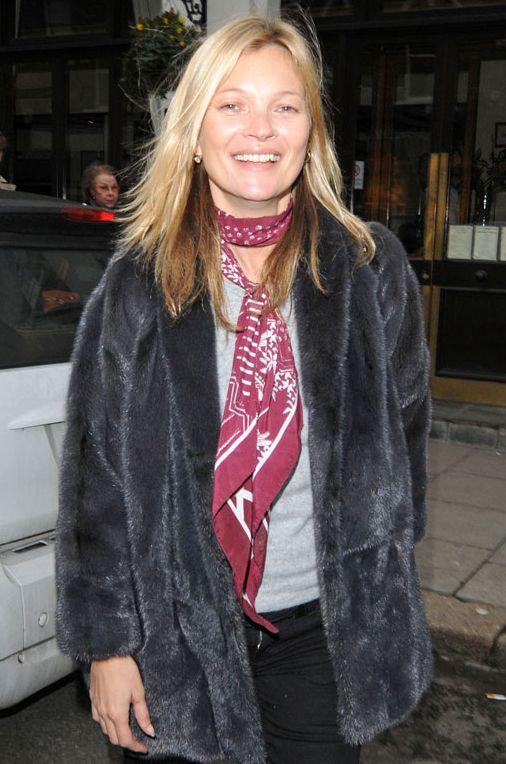 How to style a scarf like Kate Moss via @marieclaire