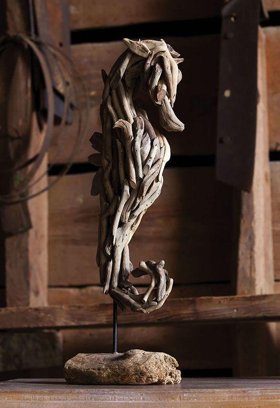 sea horse driftwood sculpture