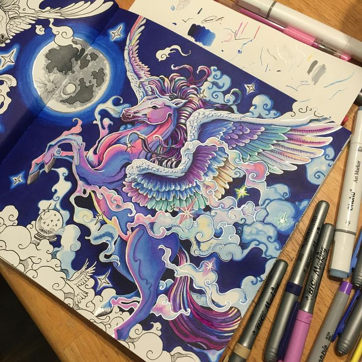 "111 Likes, 7 Comments - Ashfield May (@ashfieldmay) on Instagram: ""Going over the outlines and creating more depth. #kerbyrosanes #mythomorphia #pegasus #coloring…"""